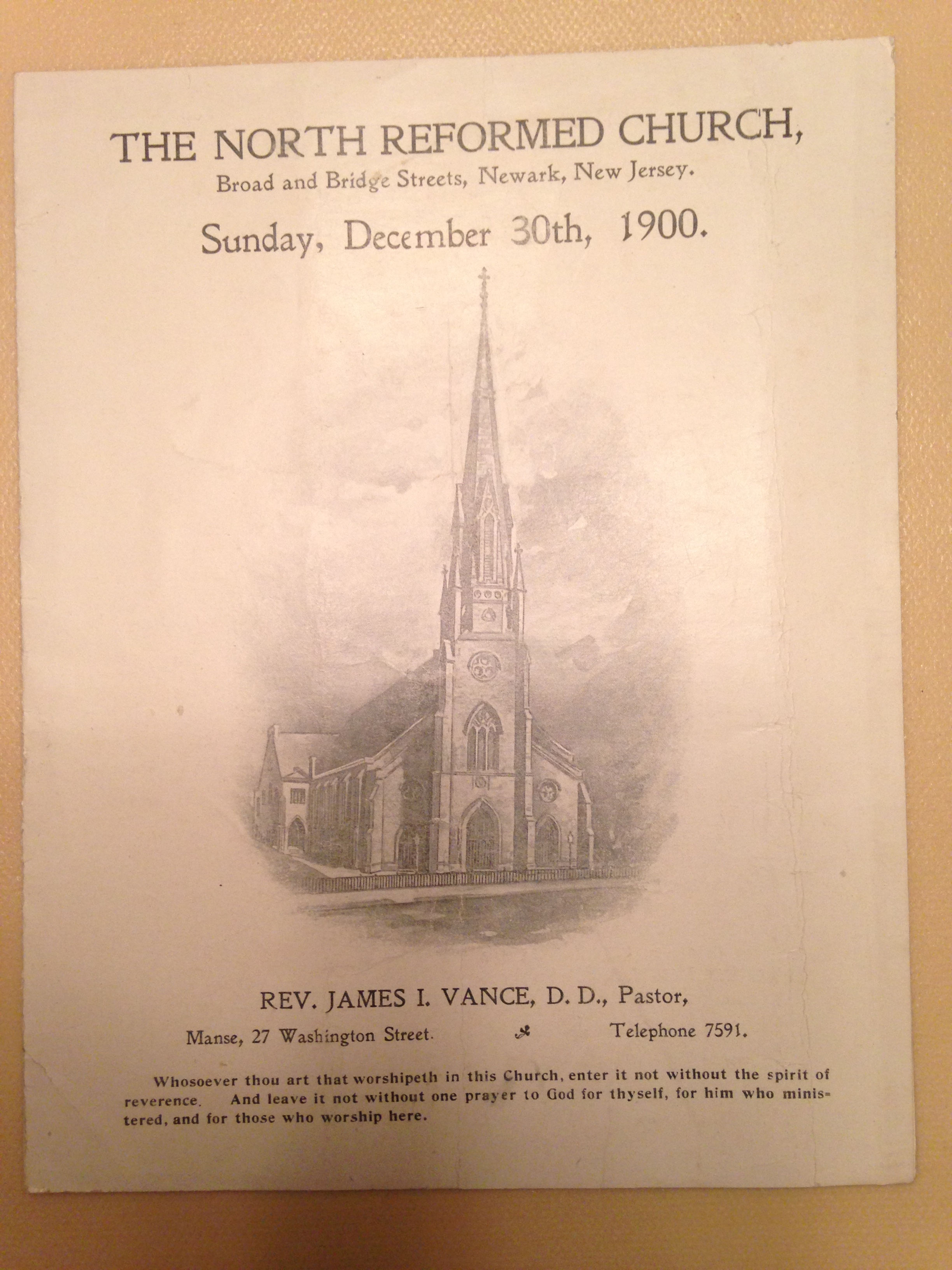 the north reformed church program for the service on sunday
